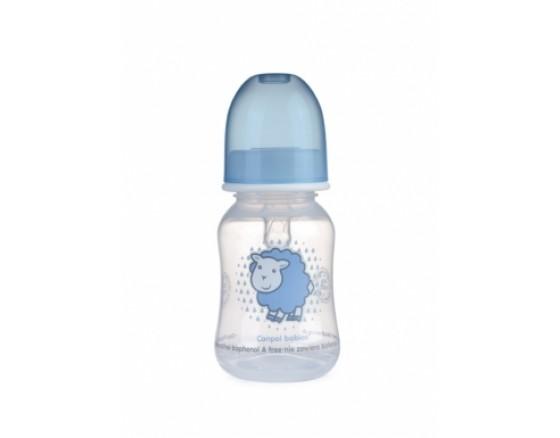 Бутылочка пластиковая, (силиконовая соска, круглая, медленный поток), 120 мл