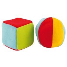 Мягкая погремушка «Мяч и куб»