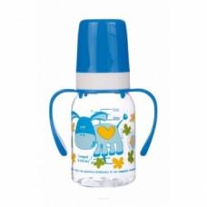 """Бутылочка пластиковая, """"Веселые животные"""", с ручками, 120 мл"""