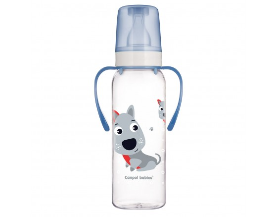 """Бутылочка пластиковая, """"Веселые животные"""", (силиконовая соска, антиколиковая, круглая, быстрый поток), с ручками, 250 мл"""